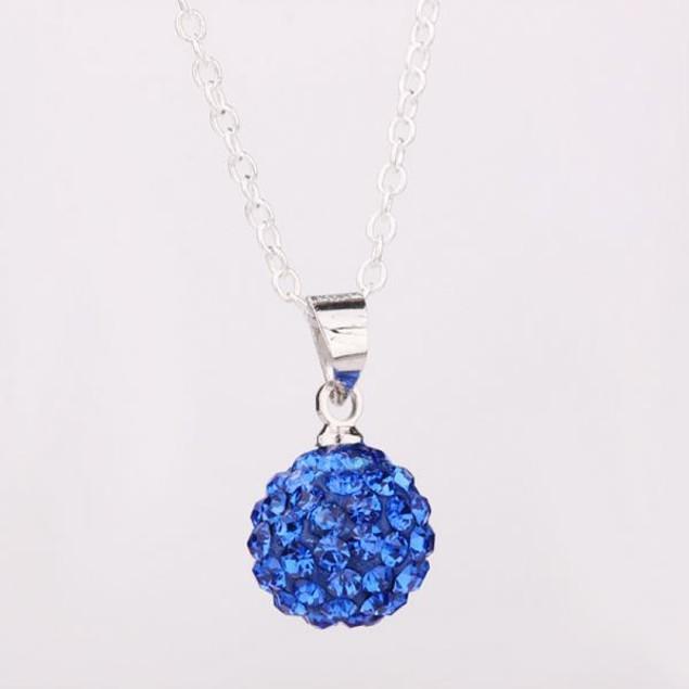 Solid Austrian Stone Pendant - Dark Blue