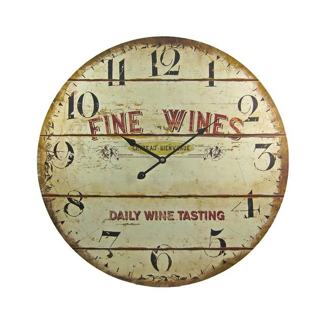 Fine Wines Barrel Motif 23 Inch Diameter Wall Wall Clocks