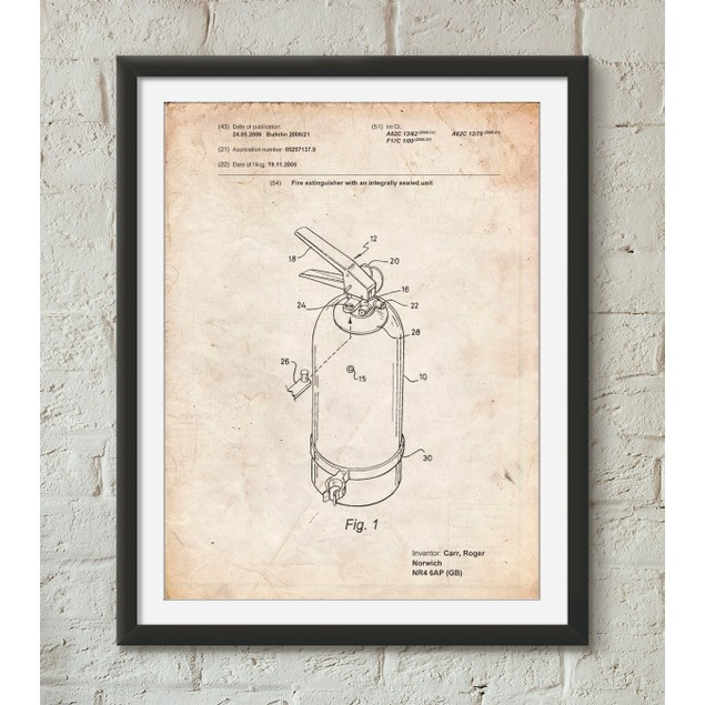 Modern Fire Extinguisher Patent Poster