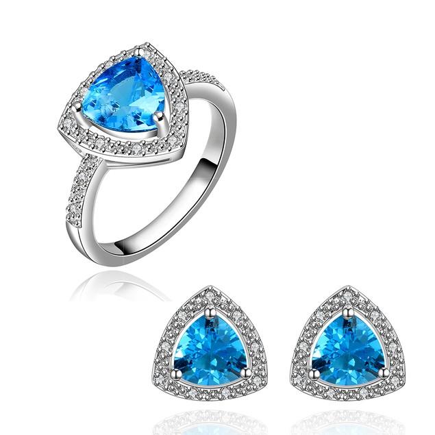 Geometric Trilogy RIng and Earring Imitation Sapphire Austrian Crystal Set