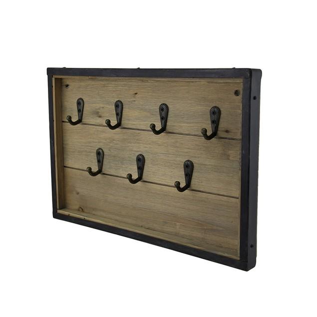 Rustic Framed Wood Panel Key Rack Wall Hanging Decorative Wall Hooks