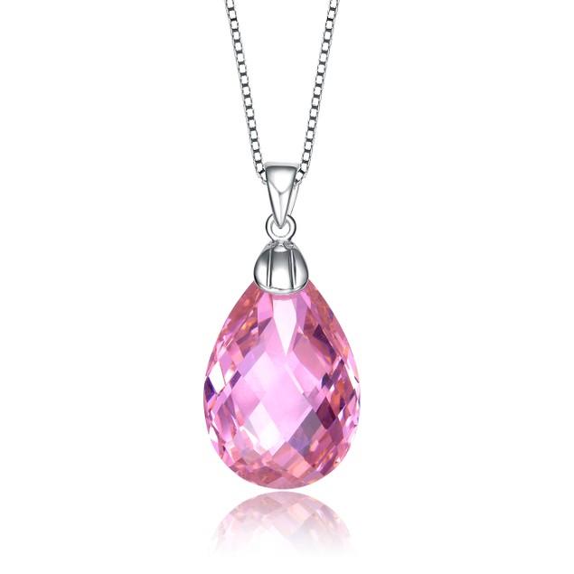C.Z. Sterling Silver Rhodium Plated Pink Teardrop Pendant