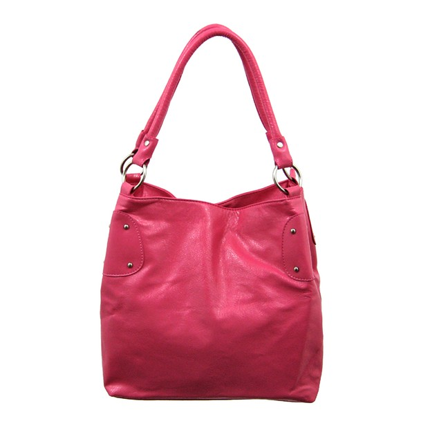 Glossy Fuchsia Pink Chrome Studded Handbag Purse Womens Shoulder Handbags