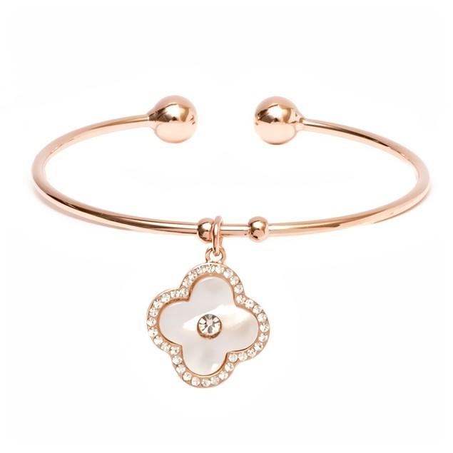 Rose Gold & Crystal Flower Charm Cuff