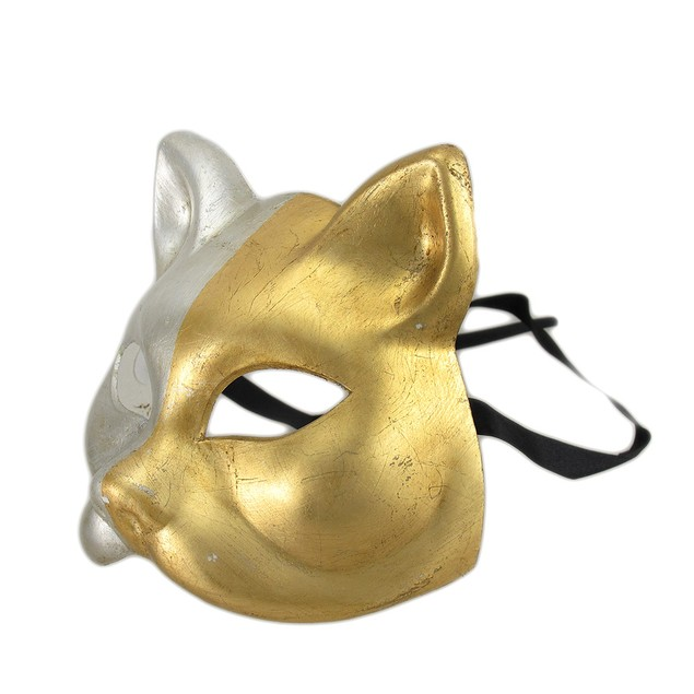 Gold And Silver Finish Half Face Carnivale Gatto Womens Costume Masks