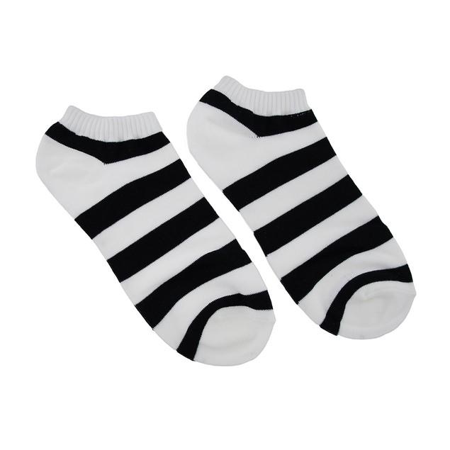 Women`S Black And White Stripes Ankle Socks Womens Socks