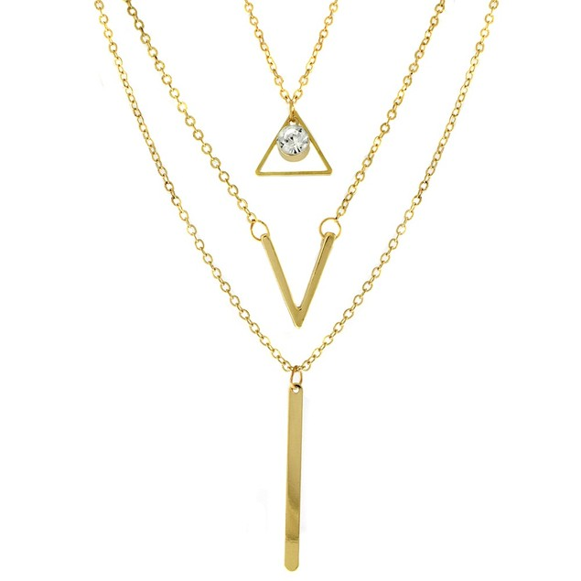 Gold Plated Triple Layer Tribal Necklace