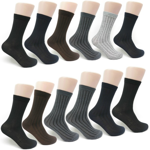 Men's Cotton Ribbed Printed Dress Socks