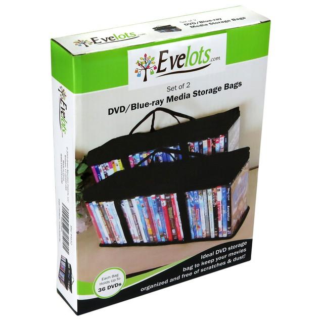 Evelots 2 DVD Blu-ray Media Storage Case Bags