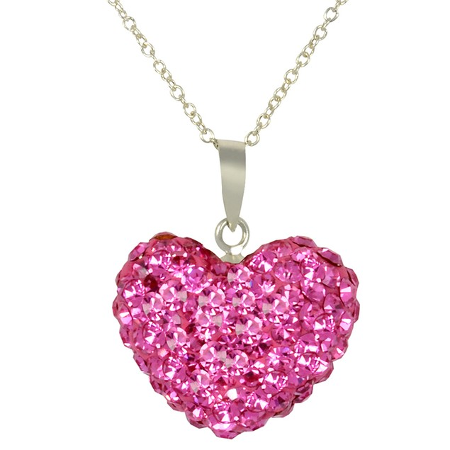 Sterling Silver Pink Crystal Heart Pendant