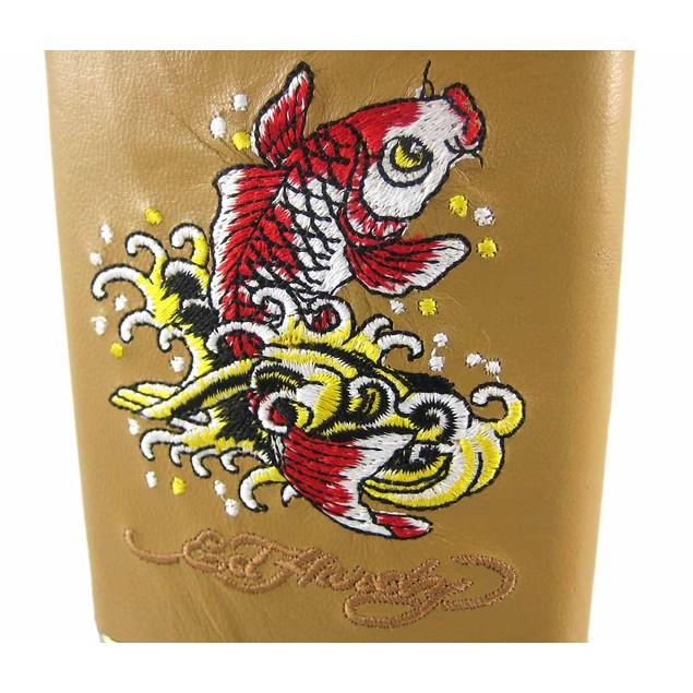 Ed Hardy Koi Fish Embroidered Tan Leather 8 Oz. Alcohol And Spirits Flasks