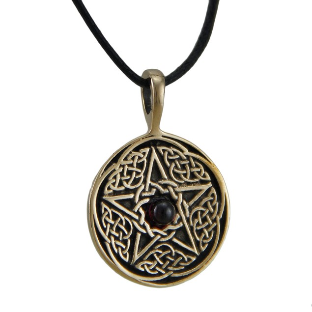 Bronze Finish Celtic Pentacle Pendant W/ Garnet Mens Pendant Necklaces