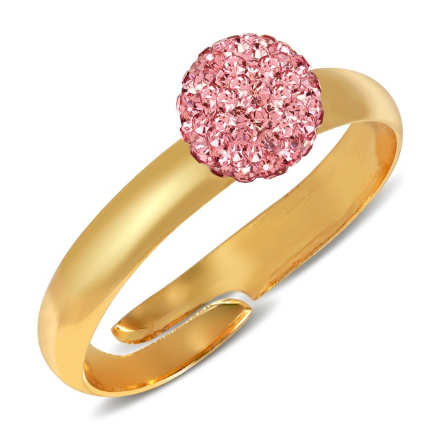 Gold Plated Crystal Fireball Adjustable Ring