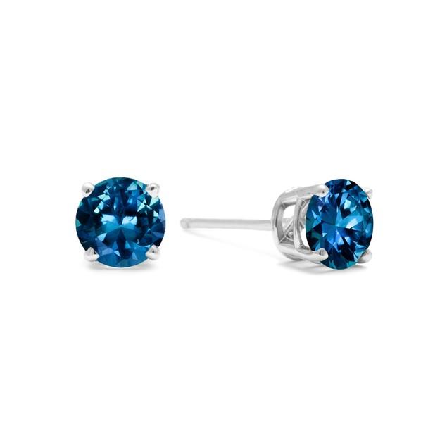 White Gold 1/2ct  Blue Diamond Stud Earrings