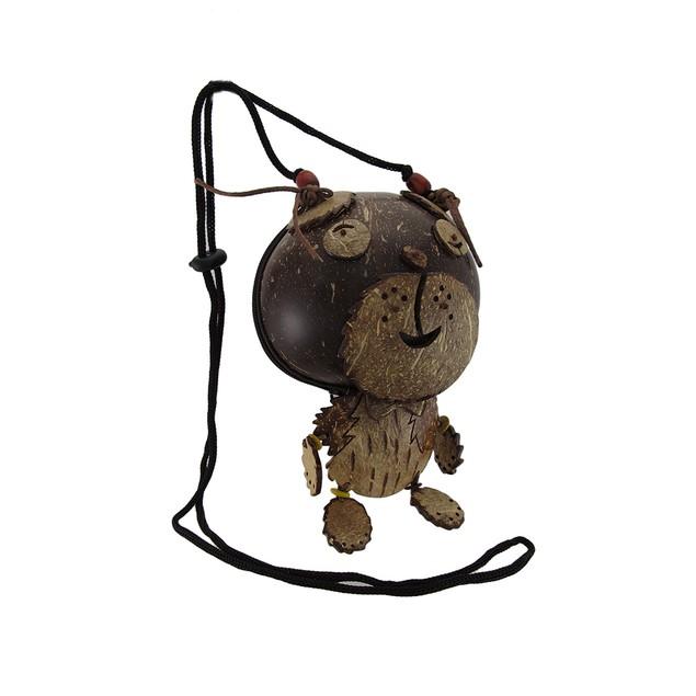 Coconut Shell Teddy Bear Purse Womens Shoulder Handbags