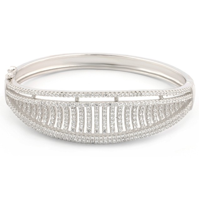 Sterling Silver Micro Pave Prong Bracelet