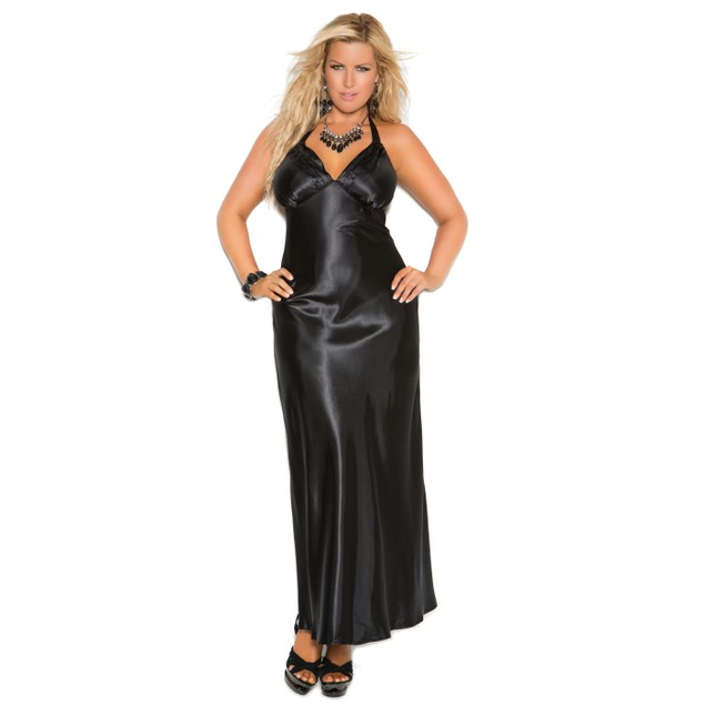 Plus Size Halter Neck Gown