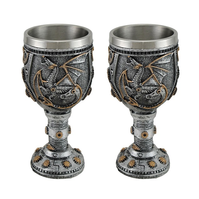 Set Of 2 Steampunk Dragon And Gears Goblets Goblets