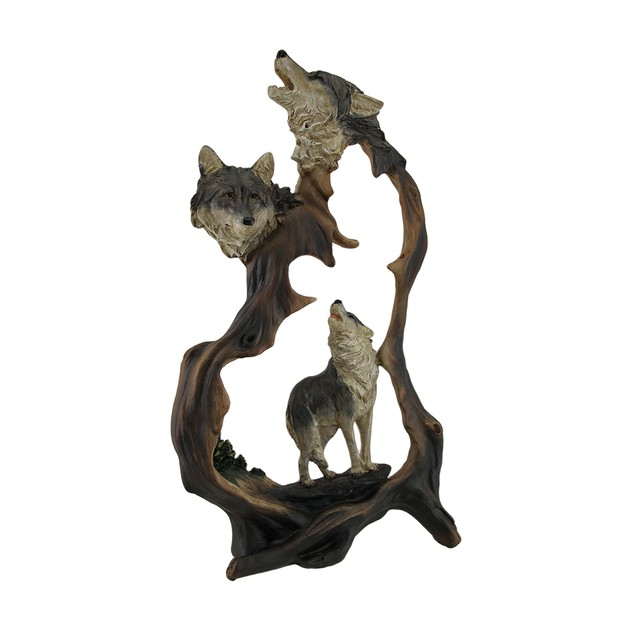 Howling Mountain Wolves Cutout Statue Statues