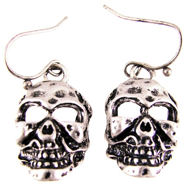 Creepy Pewter Skull Dangle Earrings Evil Dangle Earrings
