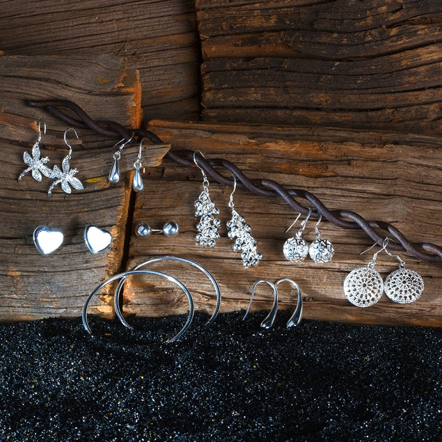 Variety Pack: 9 Pairs of Silver Earrings w/ Free Gift Box