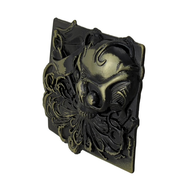 `Wild As The Wind` Skull Belt Buckle Brass Finish Mens Belt Buckles