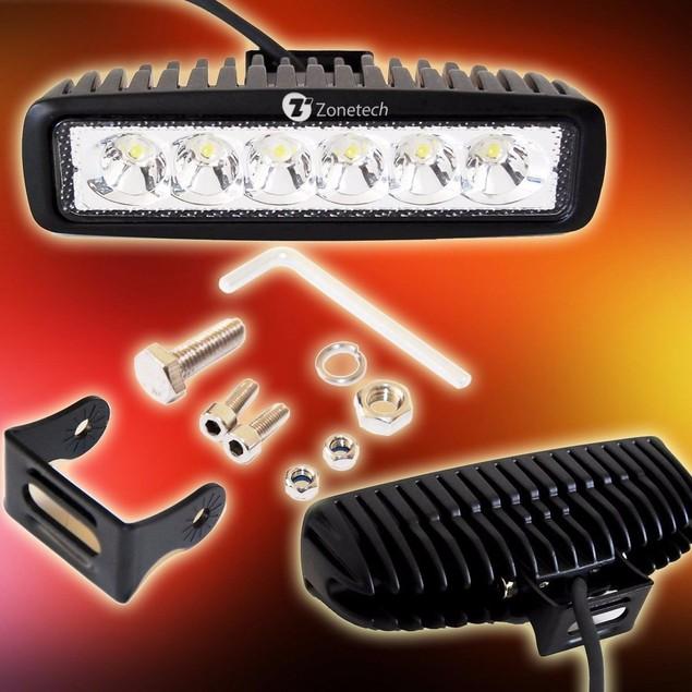 Zone Tech 2x 18W 6 LED Offroad Work Bar Beam Lamp ATV Jeep Car Truck Boat