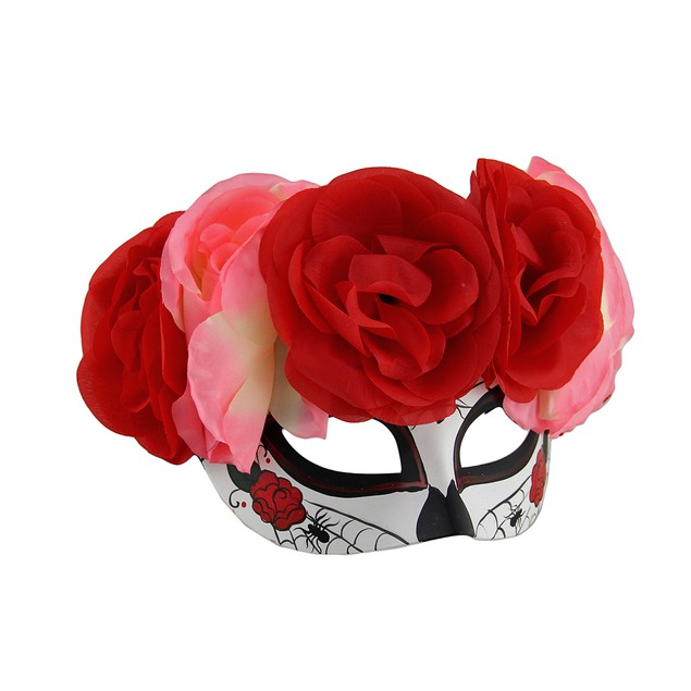 Spider Web Dod Sugar Skull Mask W/Pink And Red Womens Costume Masks