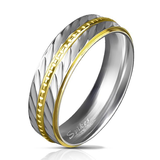316L Stainless Steel Gold IP Diagonal Ring