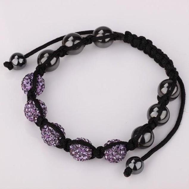 80's Glam Five Beads Austrian Crystal Bracelet -Lavender
