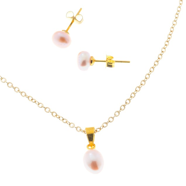 Gold Plated 6mm Pink Freshwater Cultured Pearl Set