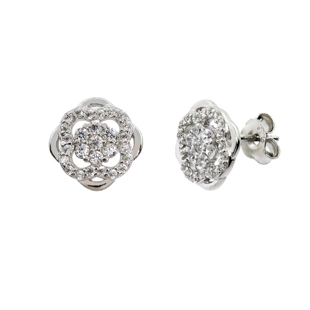 Sterling Silver Pave Clover Stud Earrings