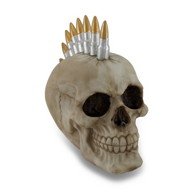 Punk Rock Bullet Mohawk Human Skull Statue Figure Head Sculptures