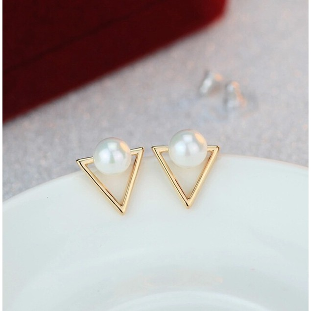 Gold tone Triangle & Pearl Earrings