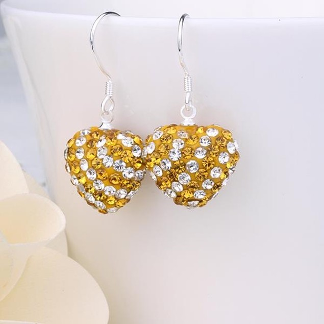 Two Toned Austrian Stone Hearts Drop Earrings -Yellow Citrine