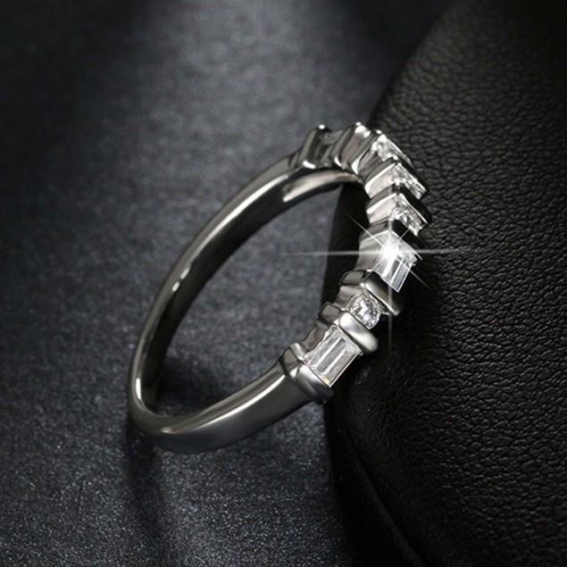 Cubic Zirconia Wedding Ring Set with Round & Baguette Gemstones
