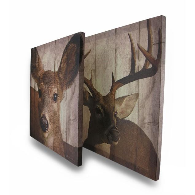 Set Of 2 Printed Canvas Deer Print Wall Hangings Prints