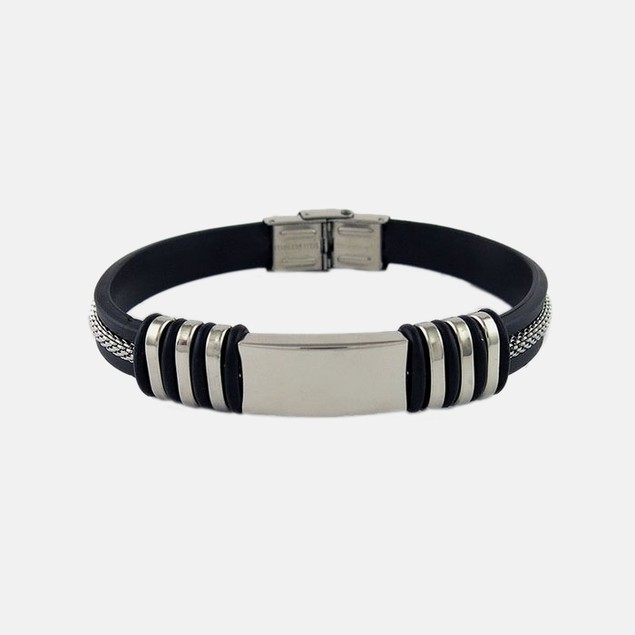 Stainless Steel and Rubber Stripe Bracelet