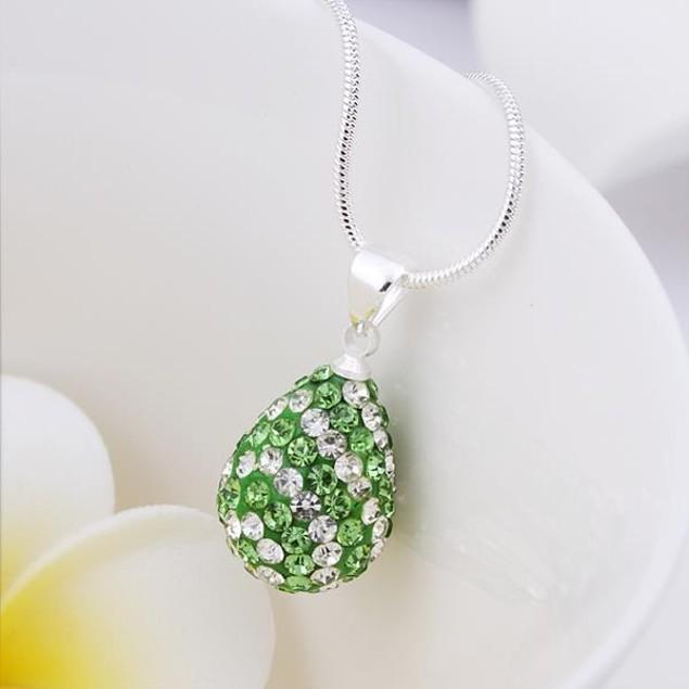 Multi-Toned Austrian Stone Pear Necklace - Green