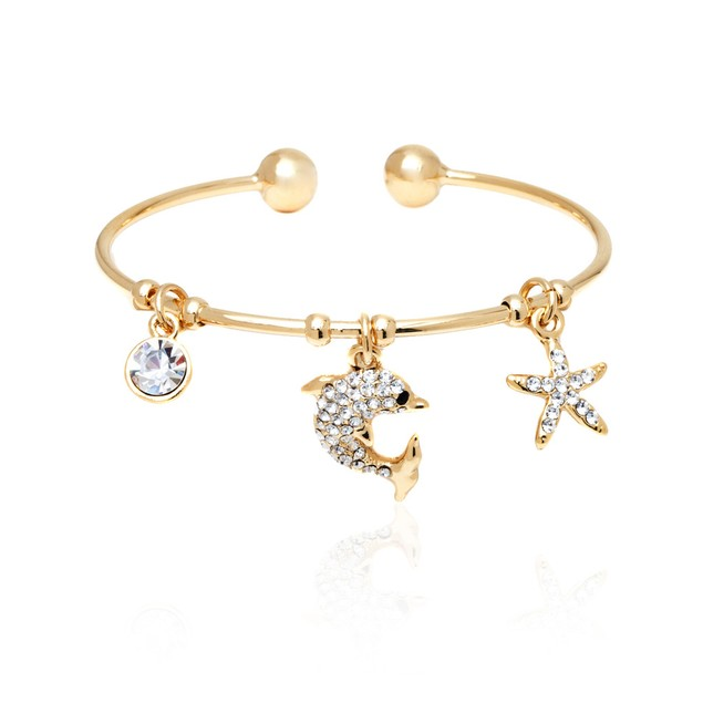 18K Gold Plated Gold and White Swarovski Elements Dolphin and Starfish Charm Bangle