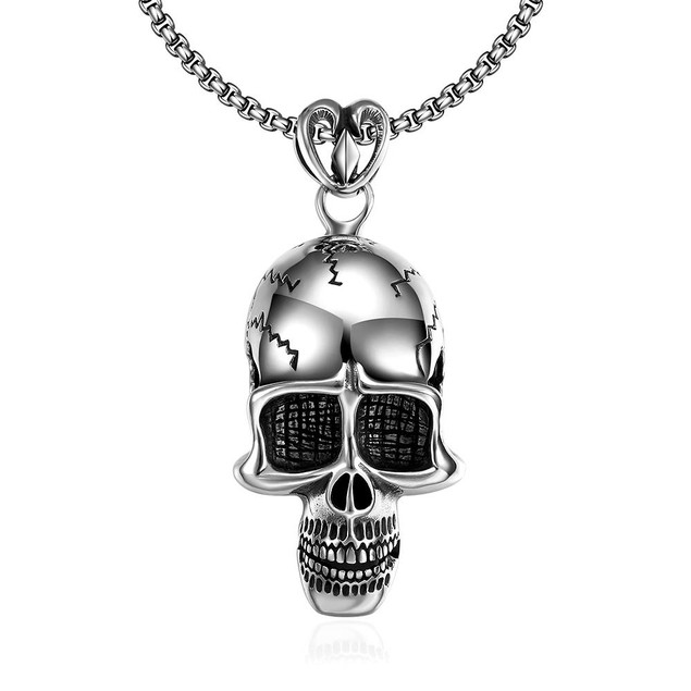 Alpha Steel Thin Skull Emblem Stainless Steel Necklace
