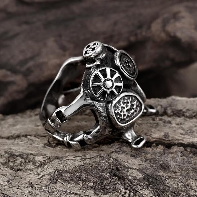 Stainless Steel Mechanics Engine Ring