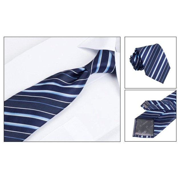 Men's Dress Suit Tie Set - Dark Blue Stripe