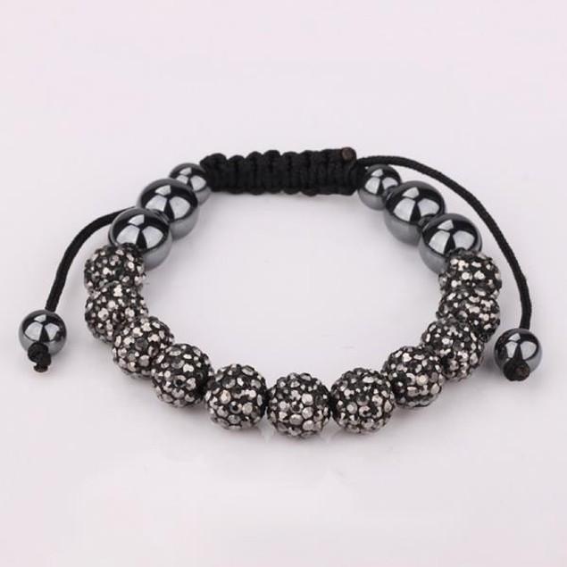 Disco Ball Eleven Beads Austrian Crystal Bracelet - Vivid Bright Onyx