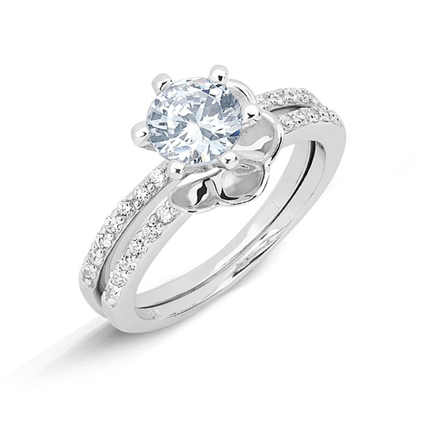 Sterling Silver 2 Piece Sparkling Zirconia Ring