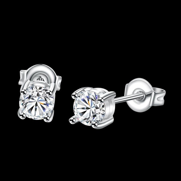 White Gold Plated Classic Imitation Diamond Studs