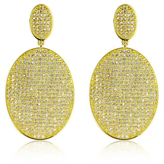 18K Gold Over Sterling Silver Micro Pave Oval Drop Earrings