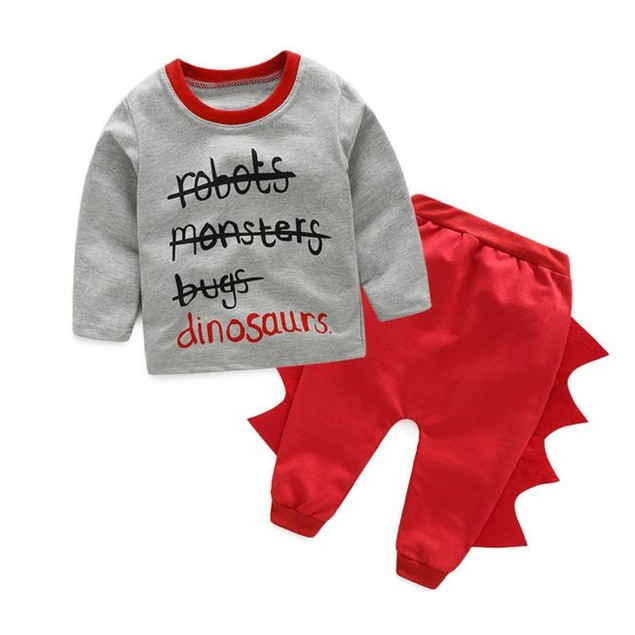 Kids Baby Letter Print Top, Dinosaur Pants Outfit
