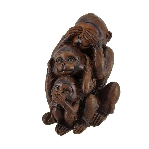No Evil Monkeys Faux Wood Carving Statue Statues