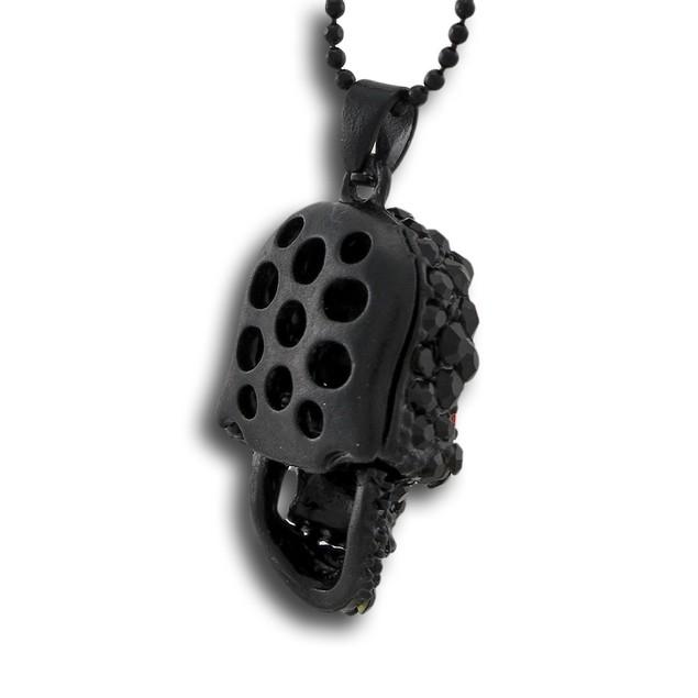 Black Enamel Rhinestone Encrusted Skull Necklace Chain Necklaces